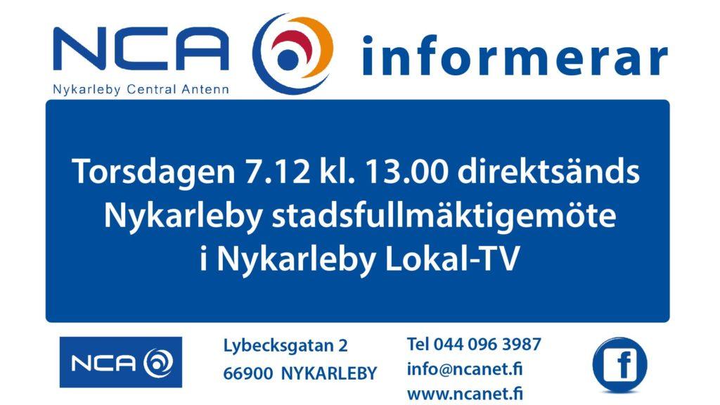 NCA informerar Stadsfullmäktige 7.12-01